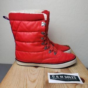 Keds Red Waterproof Winter Sneaker Boots Faux Fur